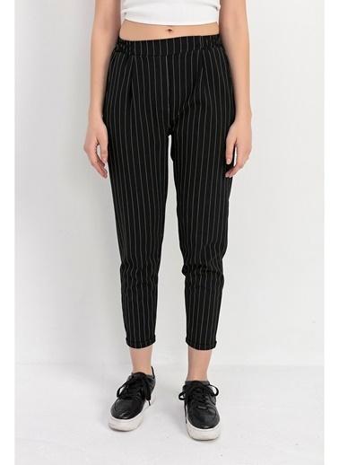 Tiffany&Tomato Beli Lastik Duble Paça Çizgili Havuç Pantolon - Siyah Siyah